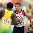 Adam Gemili greets Jazeel Murphy — Stock Photo