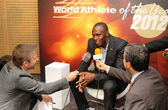 Usain Bolt interviewed — Stock Photo