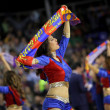 Cheerleader of FC Barcelona - Stock Photo