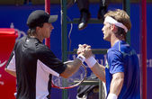 Argentinian tennis player Carlos Berlocq and Spanish Daniel Gimeno-Traver — Stock Photo