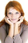 Yaratıcı isolat makyaj ile genç ve güzel bir kadın portresi — Stok fotoğraf