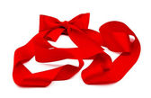 Red cristmas ribbon with bow isolated ob white — Stock Photo