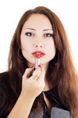 Attractive woman with red lipstick — Stock Photo