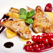 Stockfoto: Closeup of chicken steak with fruits