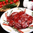 Raw beef medallions with rosemary, pepper and spices — Stock Photo #23197406