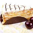 Stock Photo: Flaky cake with cherries and almond