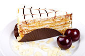 Flaky cake with cherries and almond — Stock Photo