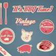 Grill barecue vintage template - Stock Vector