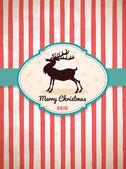Vintage Christmas Card Reindeer — Stock Vector