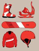 复古单板滑雪设备 — 图库矢量图片