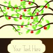Apple tree branch with red apples, template - ベクター素材ストック