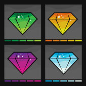 Diamond set in four colors — Stock Vector