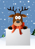 Christmas card with a cute reindeer character — Stock Vector