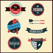 Vintage Styled Label collection design, restaurant labels — Stock Vector