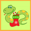Green snake of with Christmas Boots — Stock Vector