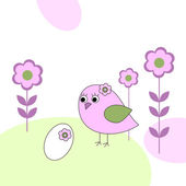 Pink bird with white egg — Stock Vector