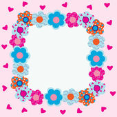 Frame of flowers with pink hearts — Stock Vector