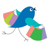 Blue bird shopping runs from sale — Stock Vector