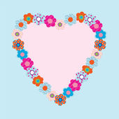 Beautiful heart frame with flowers — Stock Vector