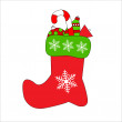 Stock Vector: Christmas bootee with gifts