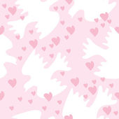 Seamless texture with doves and heart — Stock Vector