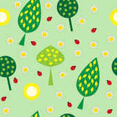 Seamless texture trees and flowers — Stock Vector