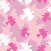Seamless texture with pink bird — Stock Vector