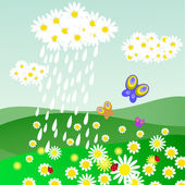 Cloud of daisies with rain — Stock Vector