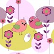 Seamless card with birds and flowers — Stock Vector