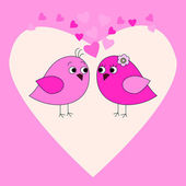 Pink card with birds and hearts — Stock Vector