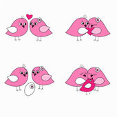 Seth pink love birds — Stock Vector
