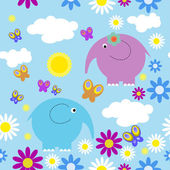 Seamless pattern with elephants and butterflies — Stock Vector