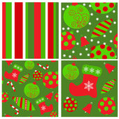 Set of seamless Christmas patterns — Stock Vector