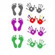 Set foot prints and palm prints — Stock Vector