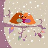 节日贺卡与鸟 — 图库矢量图片