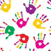 Colorful hand prints on white background — Stock Vector