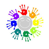 Color circle of hand prints — Stock Vector