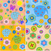 Set of seamless patterns with children's crafts — Stock Vector