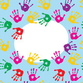 Frame with colorful prints of children's hands — Stock Vector