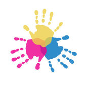 The three primary colors of handprints — Stock Vector