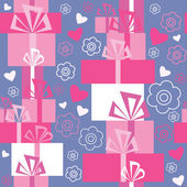 Seamless pattern with gifts and hearts — Stock Vector