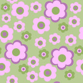 Seamless pattern with pink decorative flowers — Stock Vector