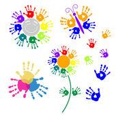 Set elements for design of handprints — Stock Vector