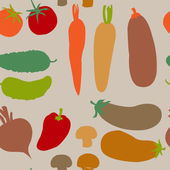 Seamless background with different vegetables — Stockvektor