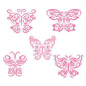 Set of beautiful pink butterflies — Stock Vector