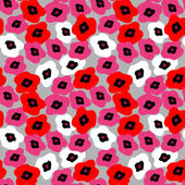 Seamless pattern with poppies on a gray background — Stock Vector