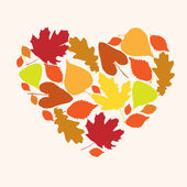 Symbol of love autumn in the form of heart — Vector de stock