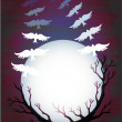Royalty-Free Stock Vector Image: Vector full moon, tree and birds