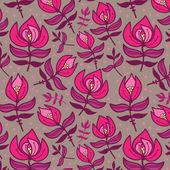 バラの花とのシームレスなテクスチャ — ストックベクタ