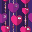 Seamless backgroud with hearts and diamonds — Stock vektor
